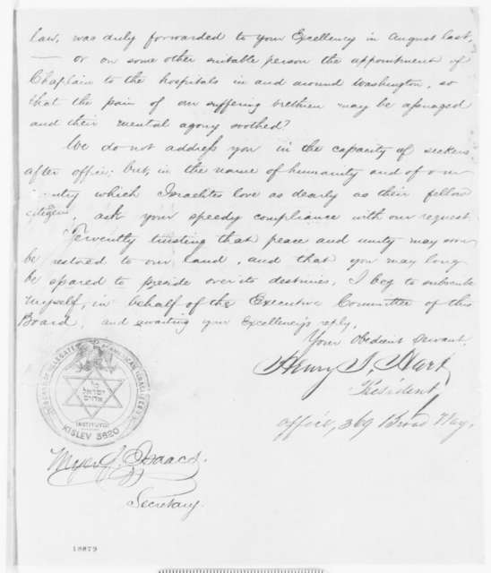 Henry I. Hart and Myer J. Isaacs to Abraham Lincoln, Monday, October 06, 1862  (Request appointment of Jewish Chaplains; endorsed by John Hay and Joseph R. Smith)