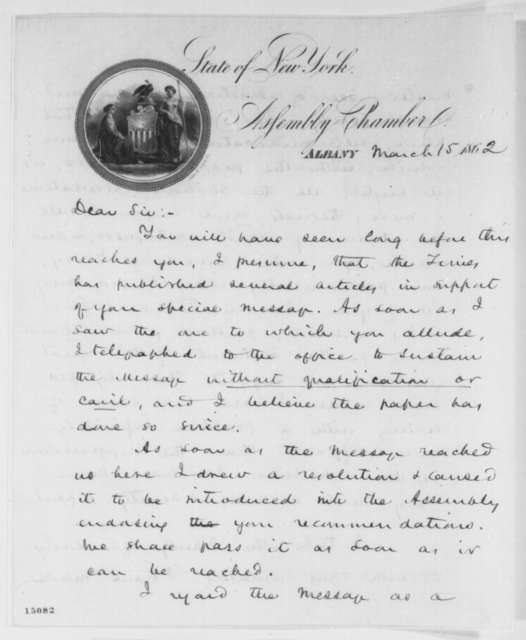 Henry J. Raymond to Abraham Lincoln, Saturday, March 15, 1862  (Support)
