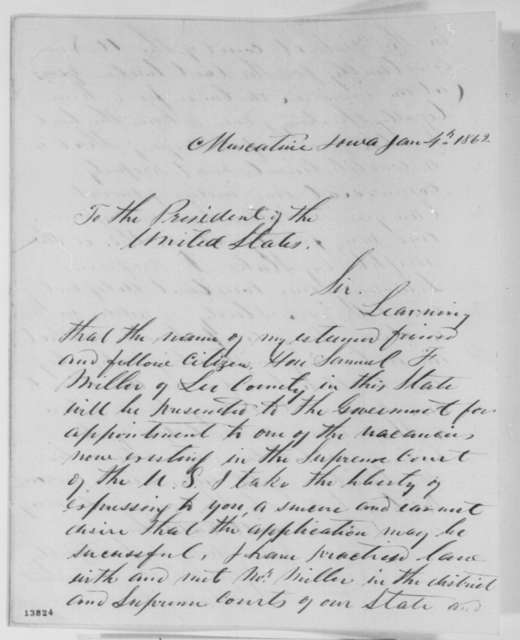 Henry O' Connor and John F. Dillon to Abraham Lincoln, Saturday, January 04, 1862  (Recommendation)
