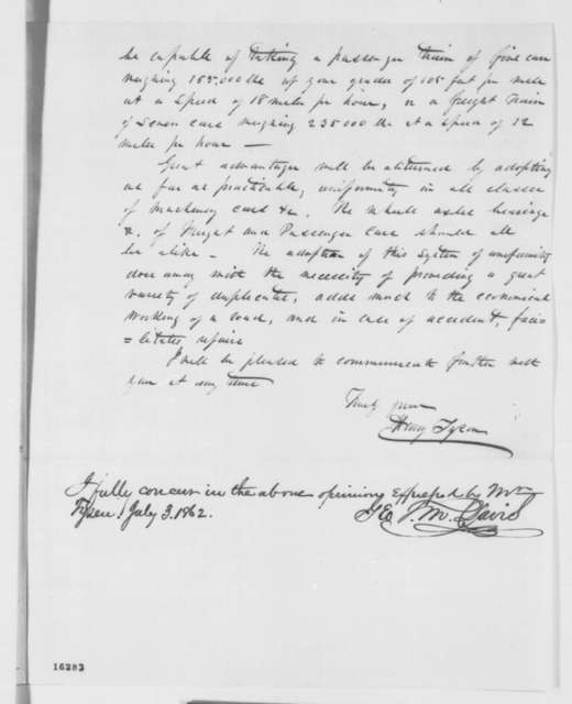 "Henry Tyson to Theodore D. Judah, Monday, June 02, 1862  (""Railroad equipment; endorsed by George T.M. Davis, July 3, 1862"")"