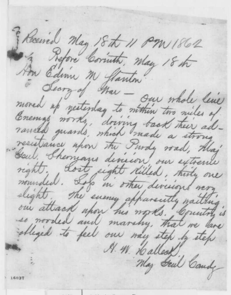 Henry W. Halleck to Edwin M. Stanton, Sunday, May 18, 1862  (Telegram regarding military affairs)
