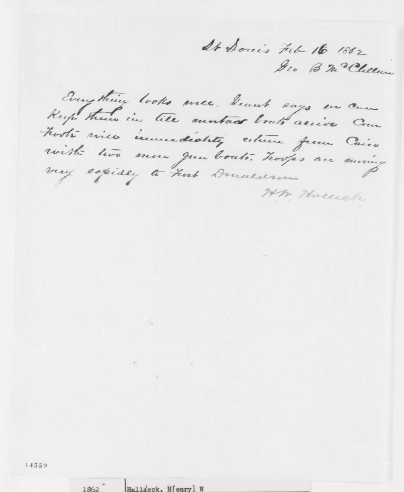 Henry W. Halleck to George B. McClellan, Sunday, February 16, 1862  (Telegram regarding military affairs)