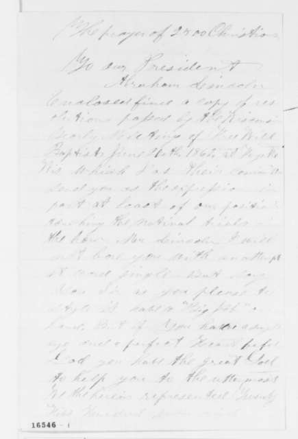 H.G. Woodworth to Abraham Lincoln, Friday, June 20, 1862  (Sends resolutions from Wisconsin Free Will Baptists)