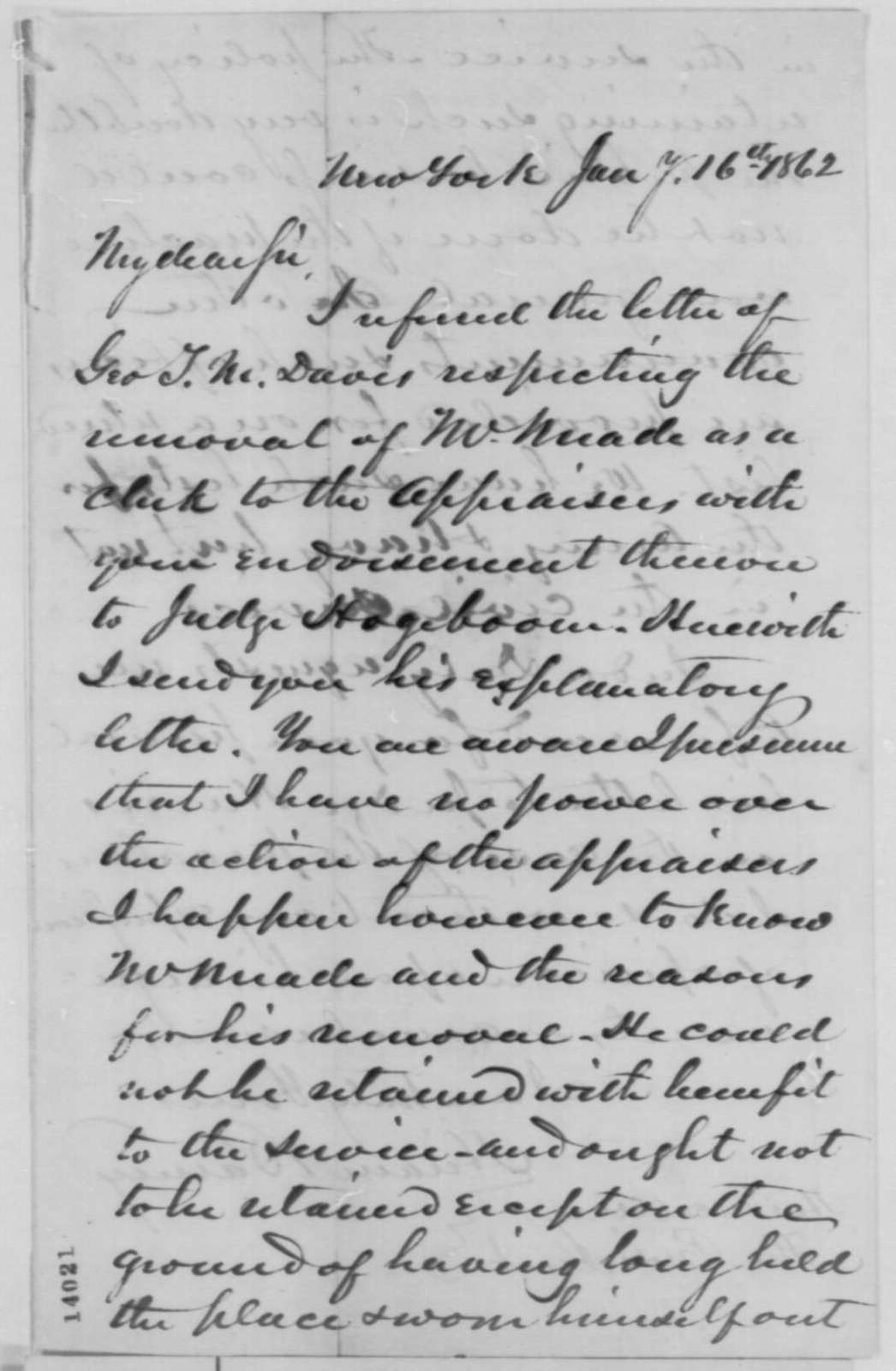 Hiram Barney to Abraham Lincoln, Thursday, January 16, 1862  (Removal of a clerk)
