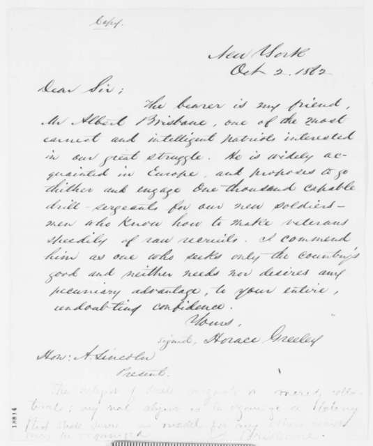 Horace Greeley to Abraham Lincoln, Thursday, October 02, 1862  (Introduction; endorsed by Albert Brisbane; with copy)