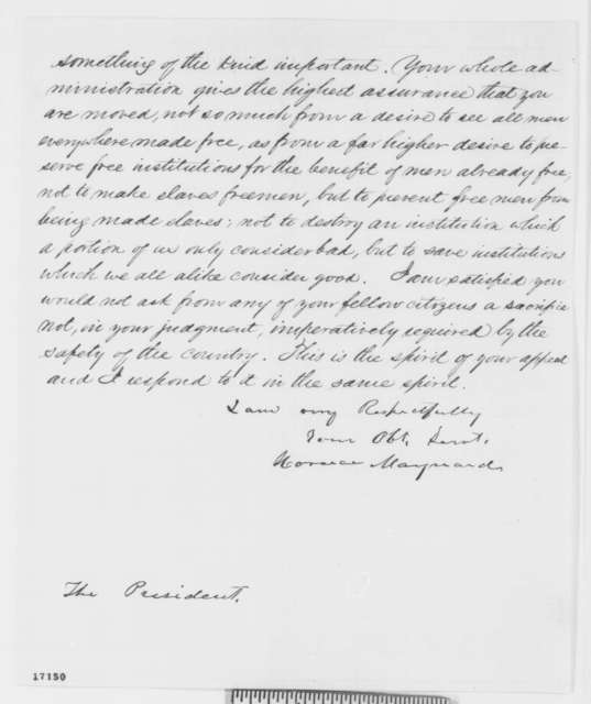 Horace Maynard to Abraham Lincoln, Wednesday, July 16, 1862  (Emancipation)