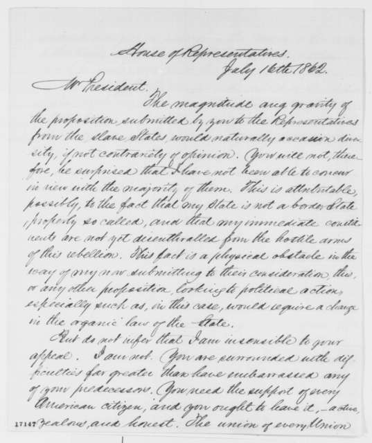 Horace Maynard to Abraham Lincoln, Wednesday, July 16, 1862  (Emancipation)