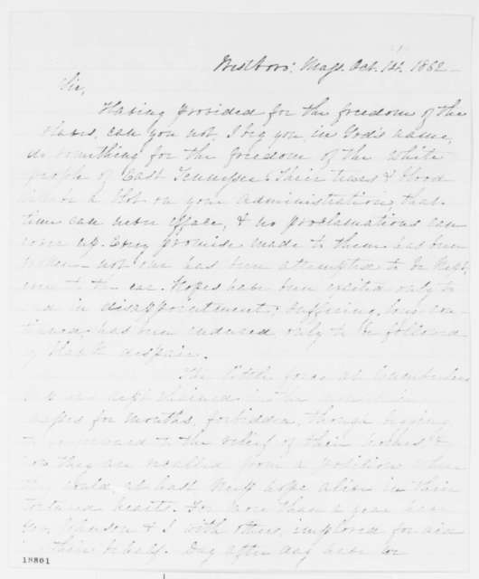 Horace Maynard to Abraham Lincoln, Wednesday, October 01, 1862  (Situation in East Tennessee)