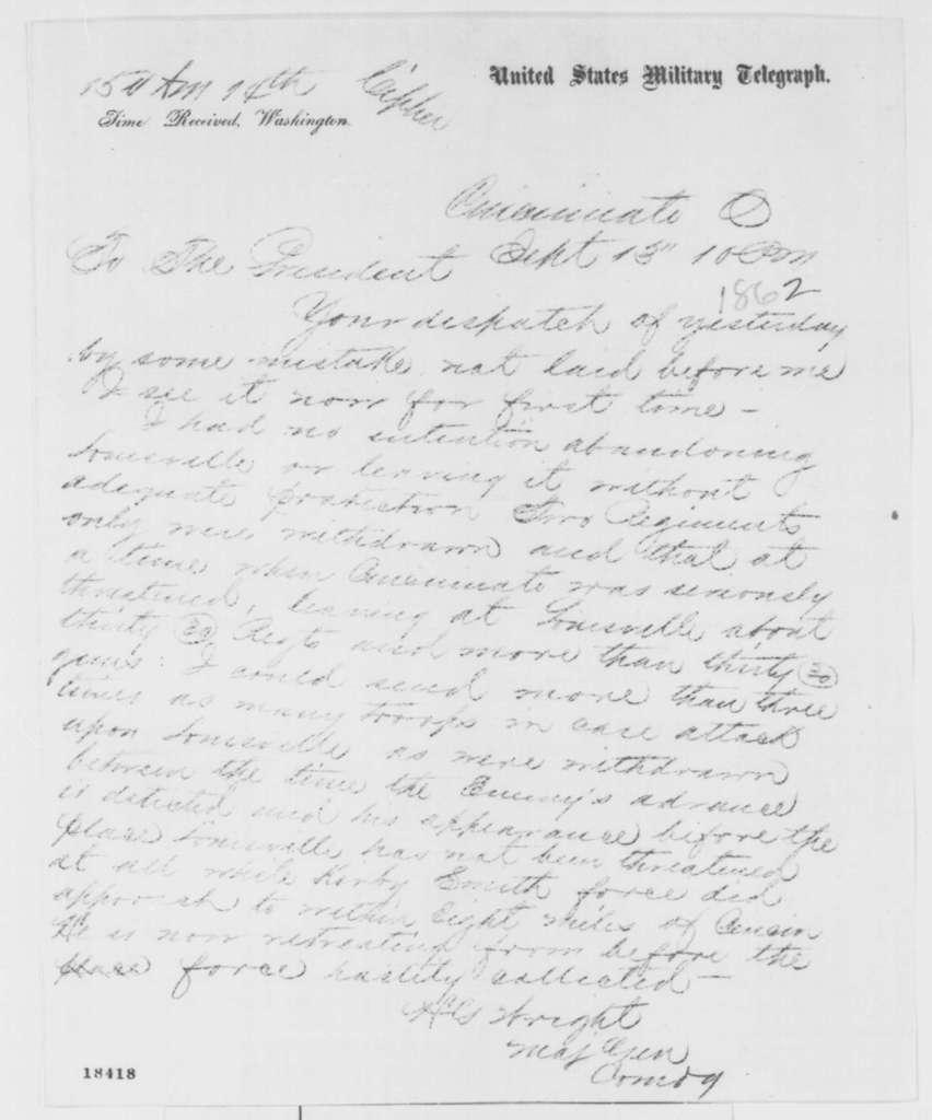Horatio G. Wright to Abraham Lincoln, Saturday, September 13, 1862  (Telegram concerning military affairs)