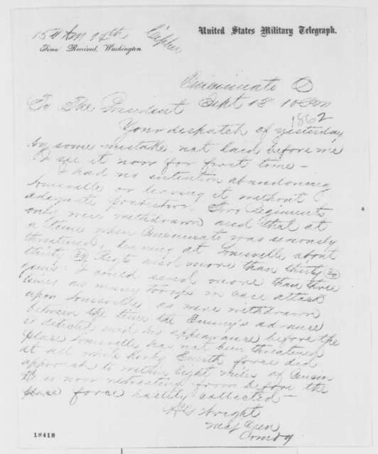 Horatio G. Wright to Abraham Lincoln, Saturday, September 13, 1862  (Telegram concerning military affairs)