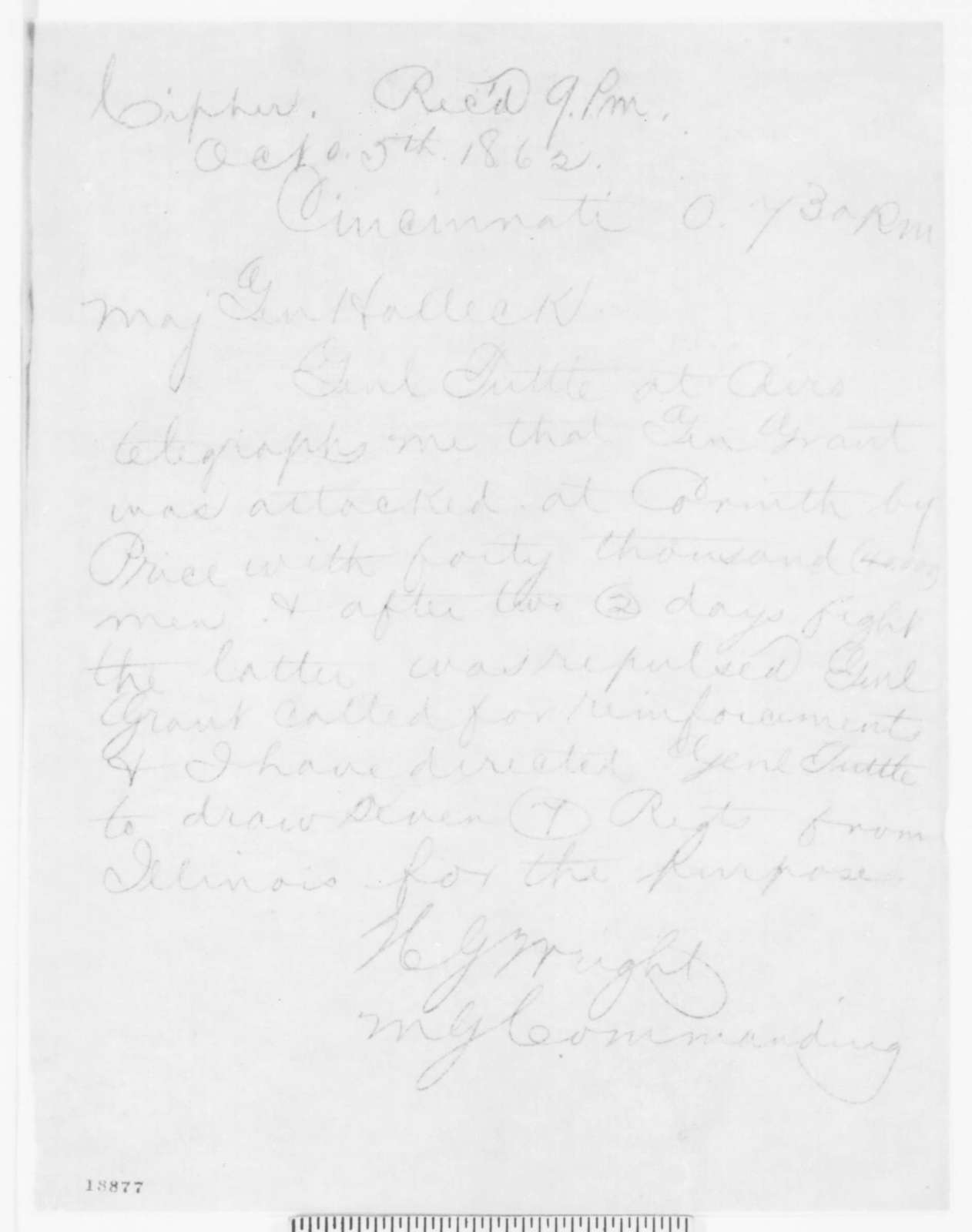 Horatio G. Wright to Henry W. Halleck, Sunday, October 05, 1862  (Telegram concerning military affairs)