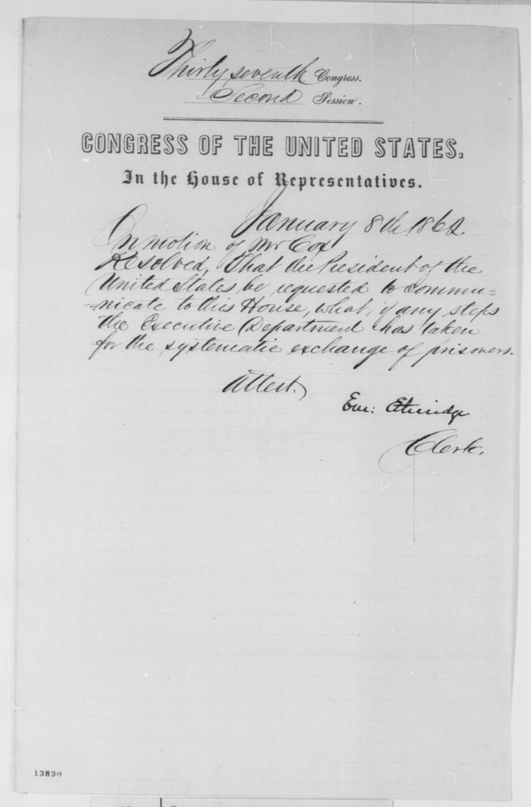 House of Representatives, Wednesday, January 08, 1862  (Resolution)