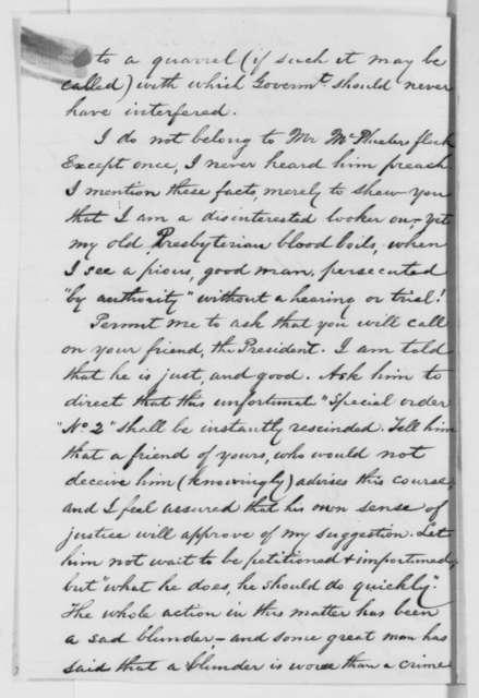 Hugh Campbell to David Davis, Saturday, December 20, 1862  (Expulsion of citizen from Missouri)