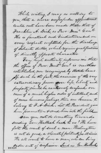 Hugh Campbell to David Davis, Saturday, December 20, 1862  (Expulsion of citizen from Missouri)