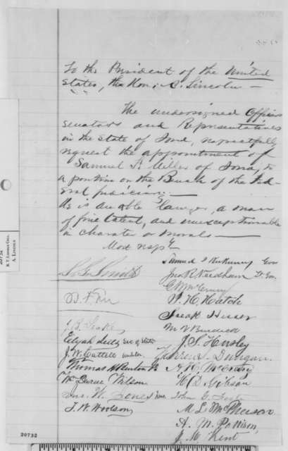 Iowa Government Officials to Abraham Lincoln,  1862  (Petition recommending appointment of Samuel Miller)