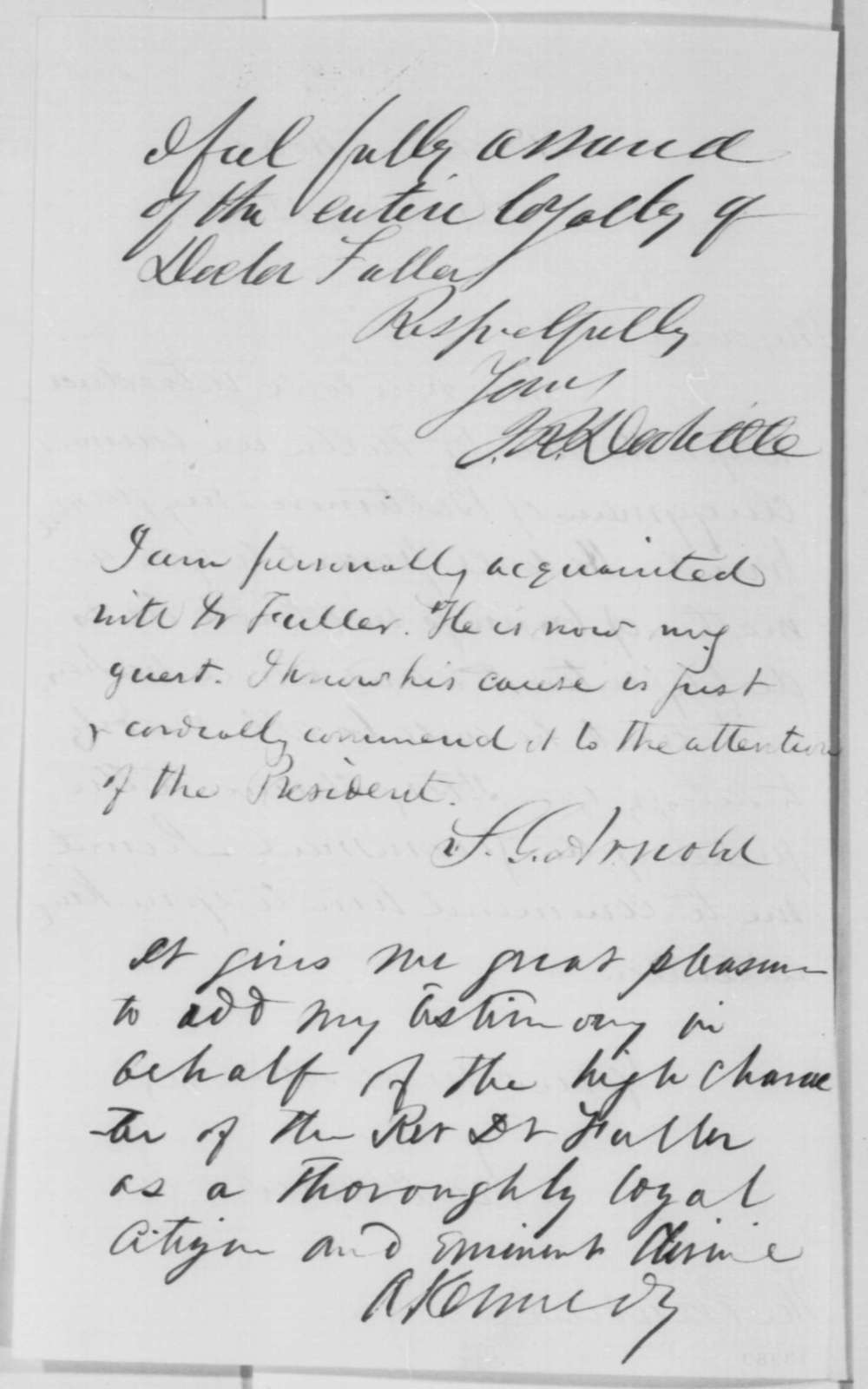 Ira Harris to Abraham Lincoln, Sunday, January 12, 1862  (Introduction; with endorsements)
