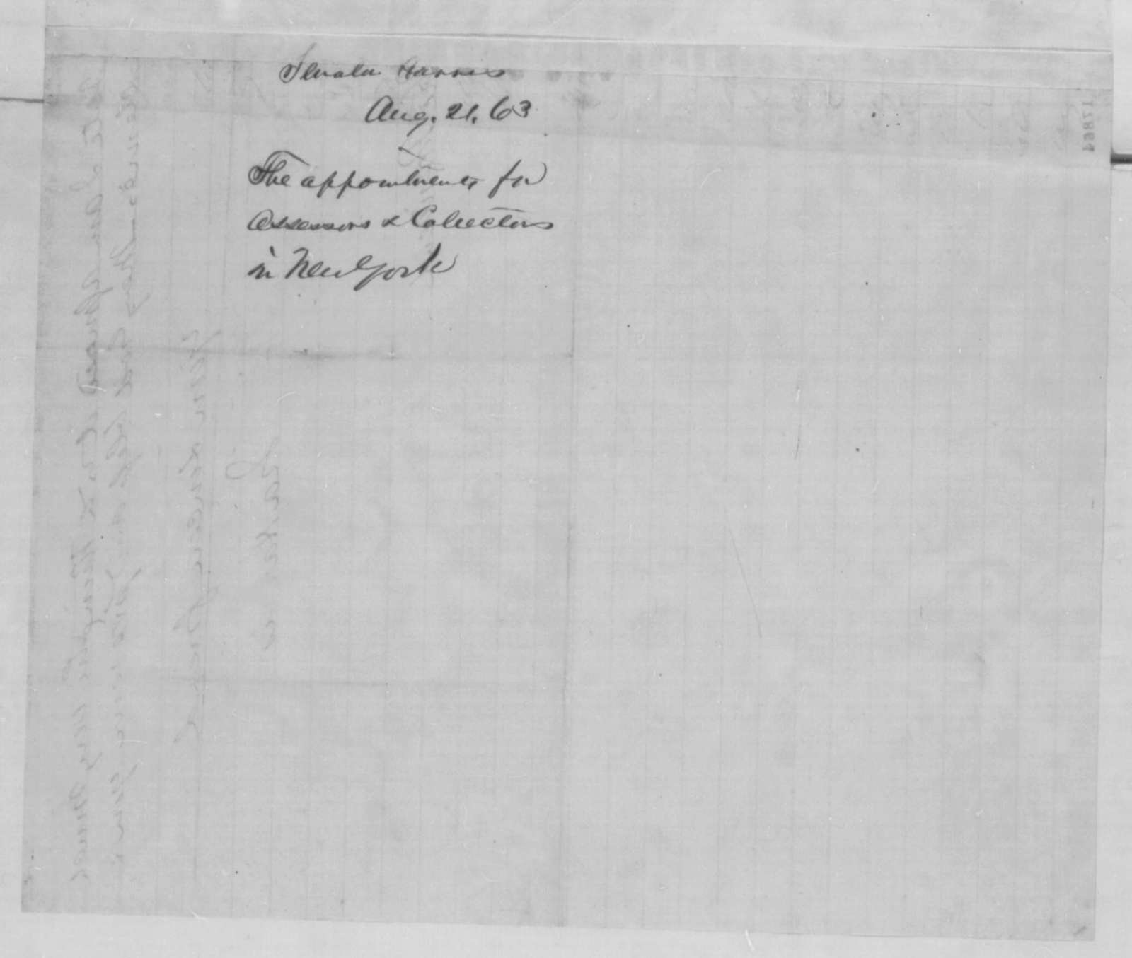 Ira Harris to Abraham Lincoln, Thursday, August 21, 1862  (Recommendations)