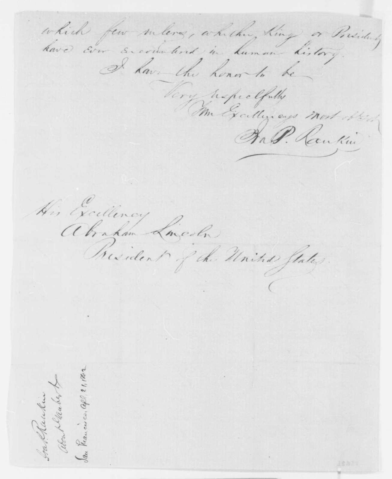 Ira P. Rankin to Abraham Lincoln, Monday, April 21, 1862  (Personal affairs)