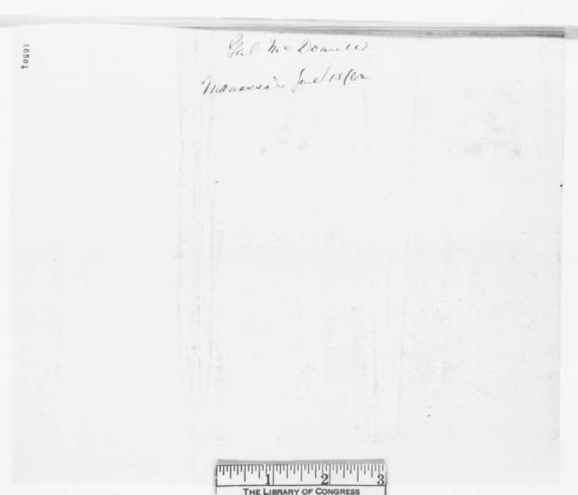 Irvin McDowell to Abraham Lincoln, Sunday, June 15, 1862  (Telegram regarding military affairs)