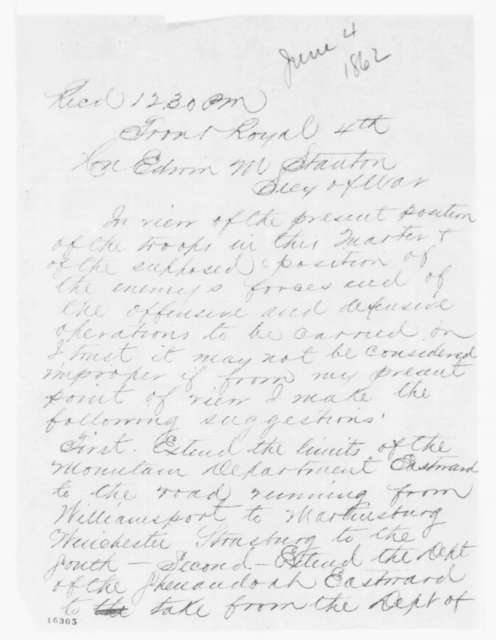 Irvin McDowell to Edwin M. Stanton, Wednesday, June 04, 1862  (Telegram regarding military affairs)