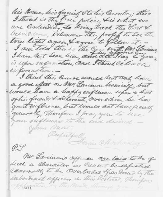 Irving O. Hockaday to James S. Rollins, April 1862  (Requests pardon for Henry Larimore)