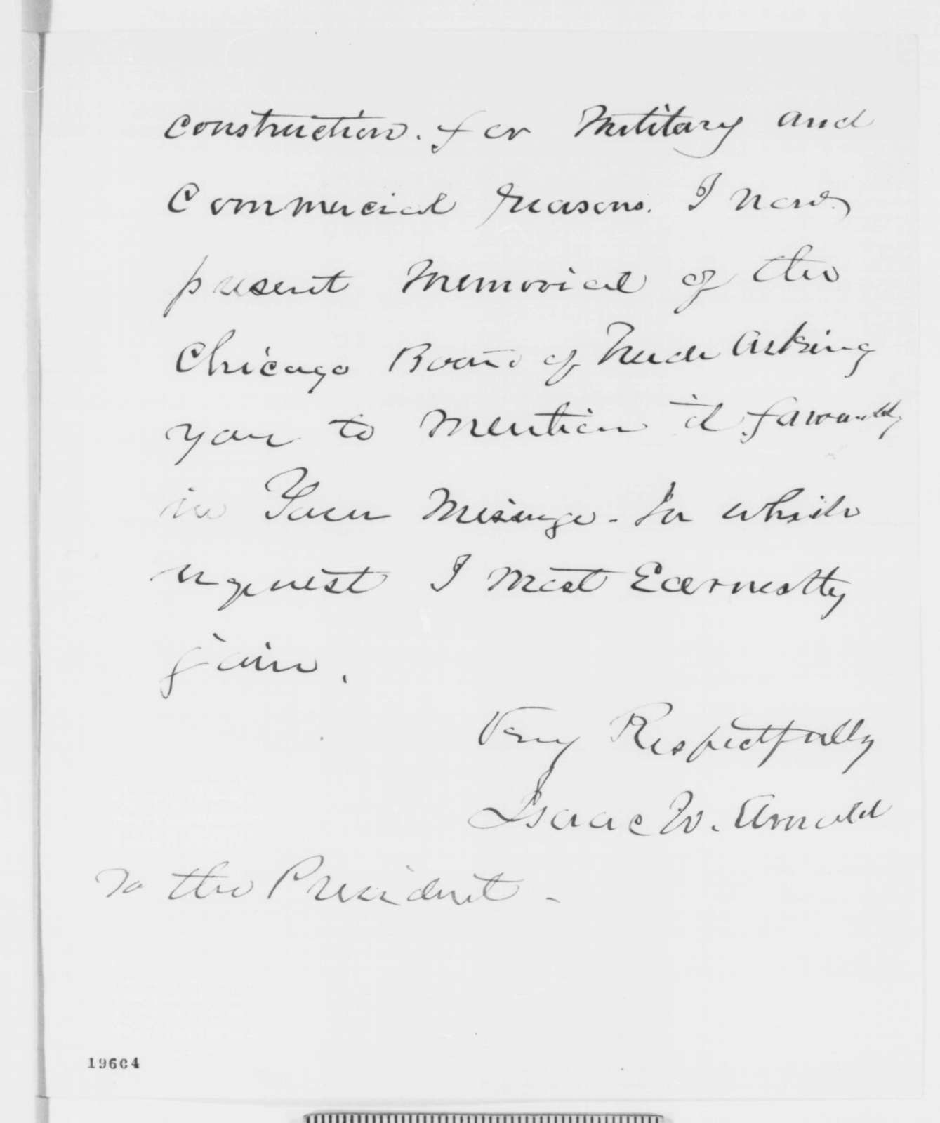 Isaac N. Arnold to Abraham Lincoln, Thursday, November 20, 1862  (Enlargement of the Illinois and Michigan Canal)