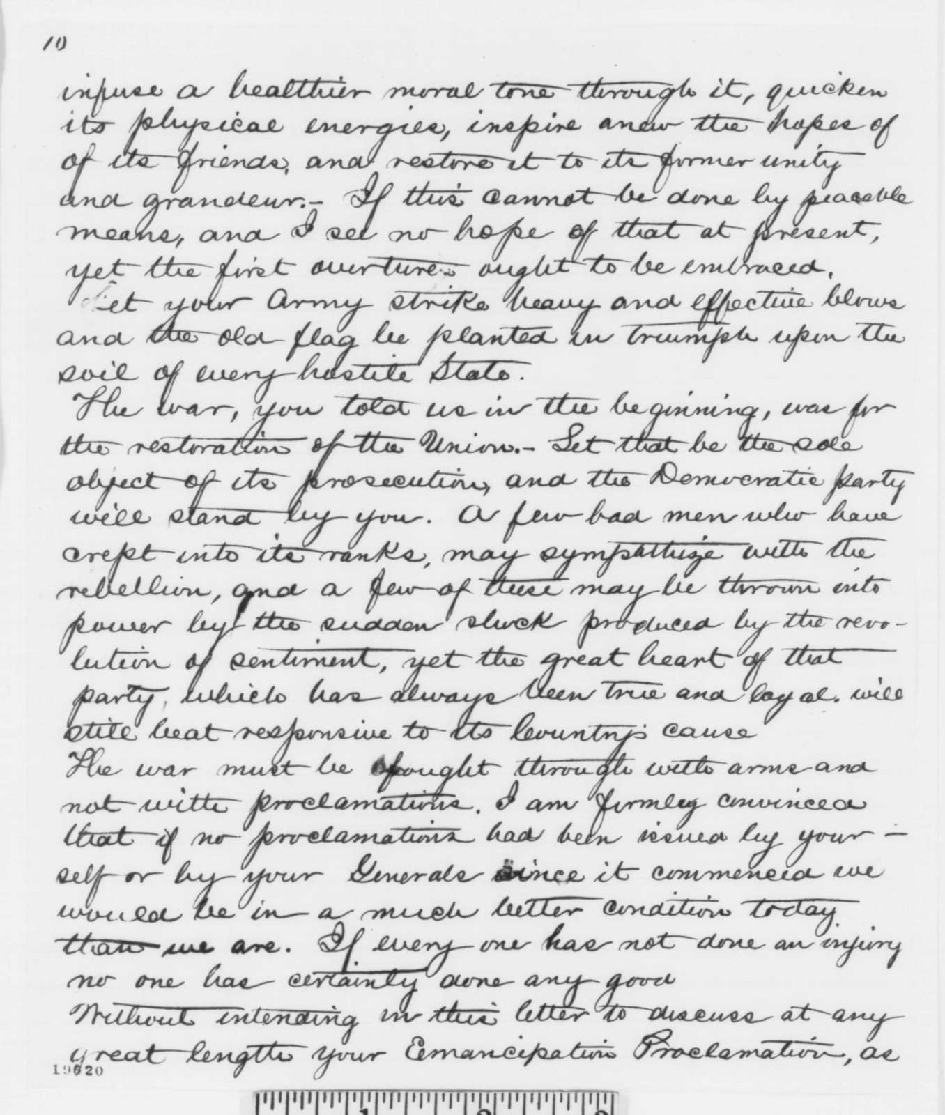 Isaac N. Morris to Abraham Lincoln, Thursday, November 20, 1862  (Thoughts on political and military affairs)