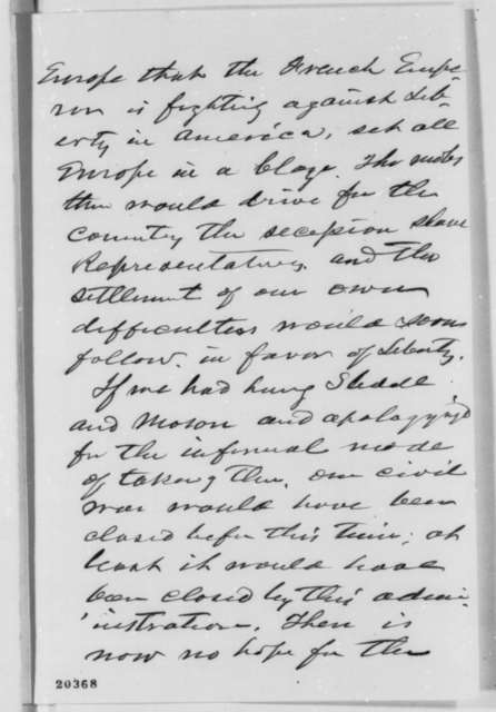 J. B. Colt to Abraham Lincoln, Monday, December 22, 1862  (Political and military affairs)