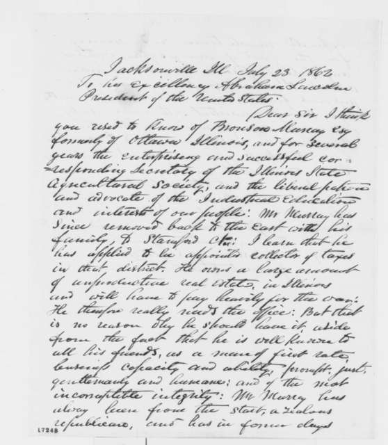 J. B. Tann to Abraham Lincoln, Wednesday, July 23, 1862  (Recommendation; endorsed by Sturges)