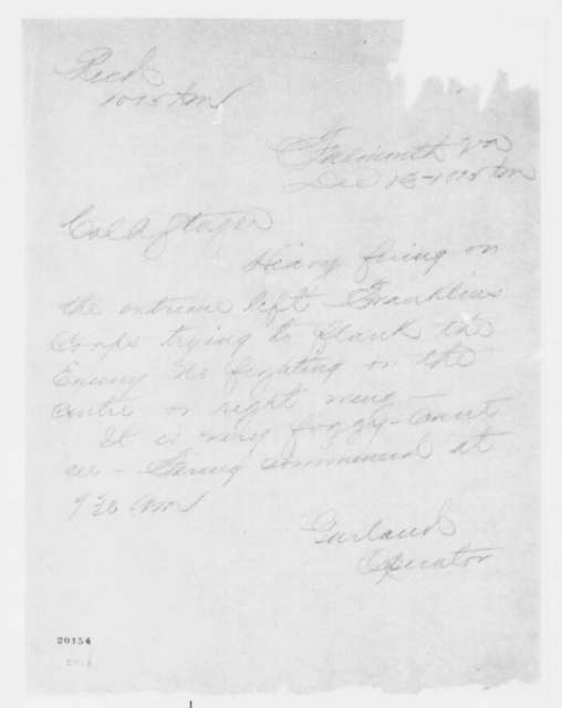 J. G. Garland to Anson Stager, Saturday, December 13, 1862  (Telegram reporting battle at Fredericksburg)