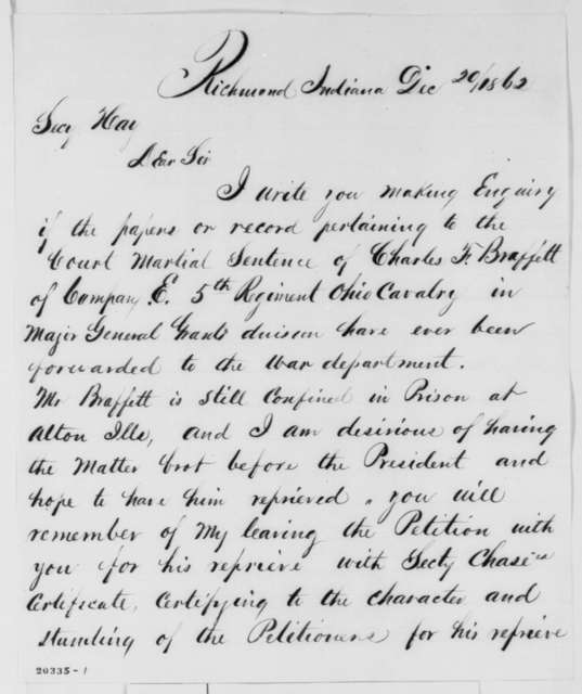 J. H. Wasson to John Hay, Saturday, December 20, 1862  (Court martial; endorsed by John G. Nicolay and James Wright)