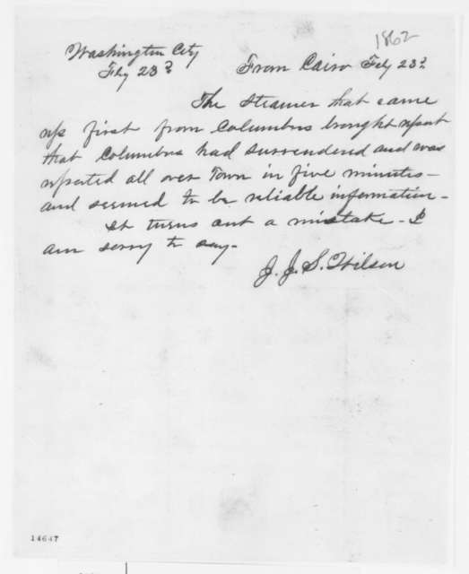 J. J. A. Wilson to Unknown, Sunday, February 23, 1862  (Telegram regarding military affairs)