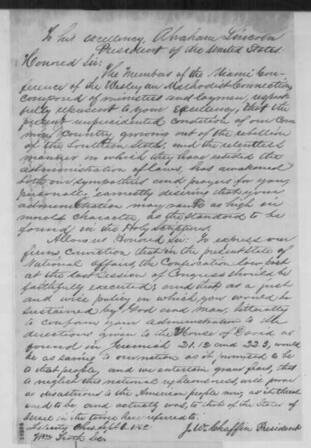 J. W. Chaffin and William Froth to Abraham Lincoln, Saturday, September 06, 1862  (Resolution concerning the Confiscation Act from Miami Conference of Wesleyan Methodist Connection)