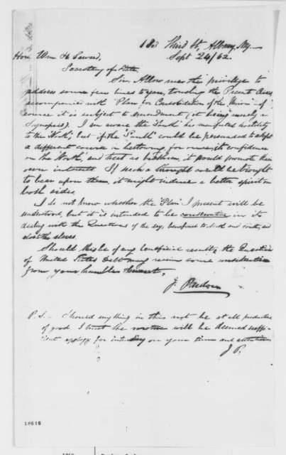 Jabez Pardon to William H. Seward, Wednesday, September 24, 1862  (Plan for consolidation of the Union)