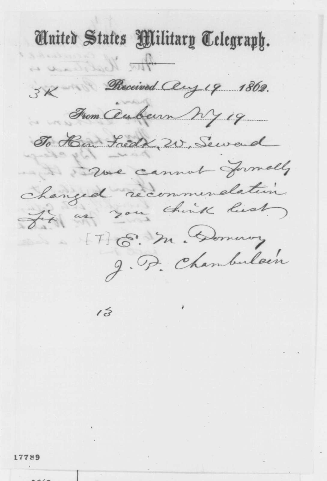 Jacob P. Chamberlain and Theodore M. Pomeroy to Frederick Seward, Tuesday, August 19, 1862  (Telegram concerning appointment; endorsed by Abraham Lincoln)