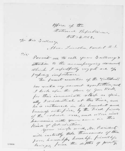 Jacob R. S. Van Vleet to Abraham Lincoln, Saturday, October 04, 1862  (Colonization)