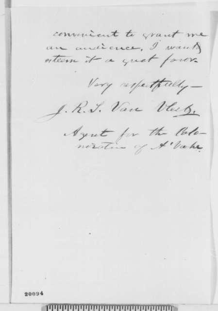 Jacob R. S. Van Vleet to Abraham Lincoln, Thursday, December 11, 1862  (Seeks interview to discuss colonization)