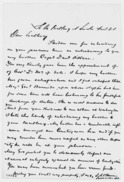 James A. O'Hara to Abraham Lincoln, December 1862  (Introduction)