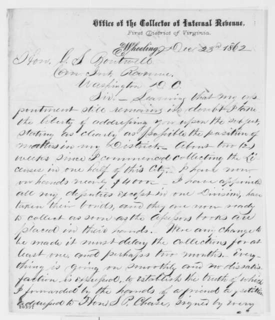 James C. Orr to George S. Boutwell, Tuesday, December 23, 1862  (Wants to retain his appointment as collector; endorsed by Boutwell)