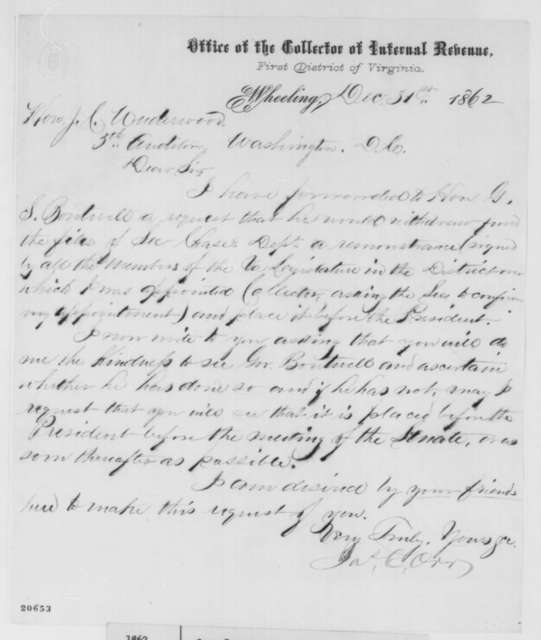 James C. Orr to John C. Underwood, Wednesday, December 31, 1862  (Orr's appointment as collector)