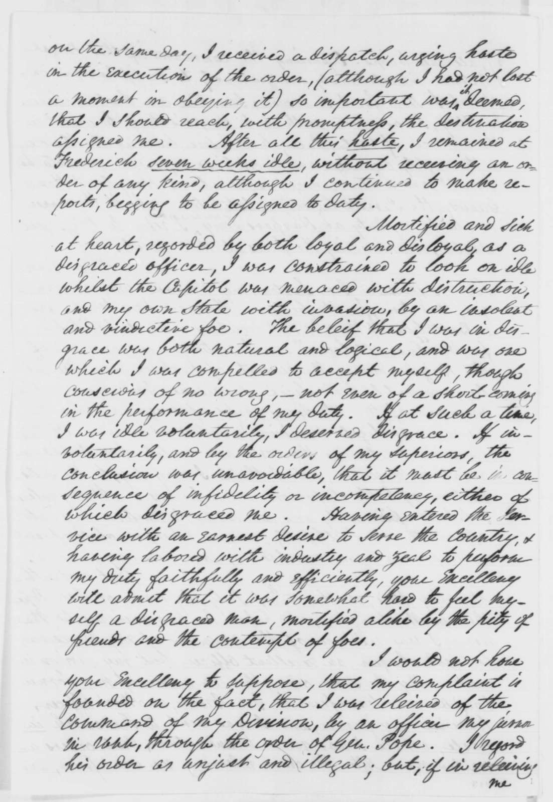 James Cooper to Abraham Lincoln, Thursday, December 04, 1862  (Seeks higher command)