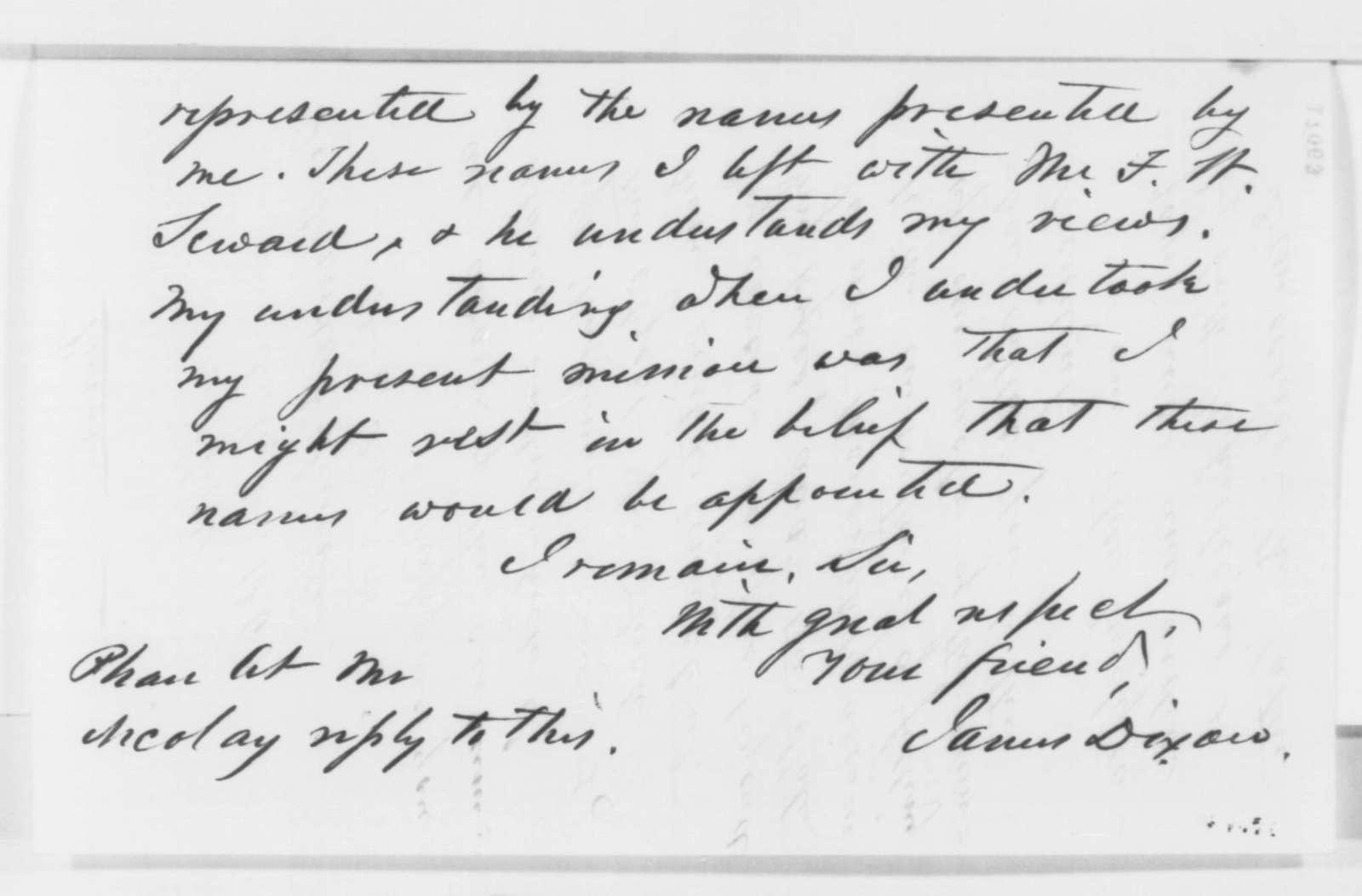 James Dixon to Abraham Lincoln, Monday, July 14, 1862  (Political and military affairs)