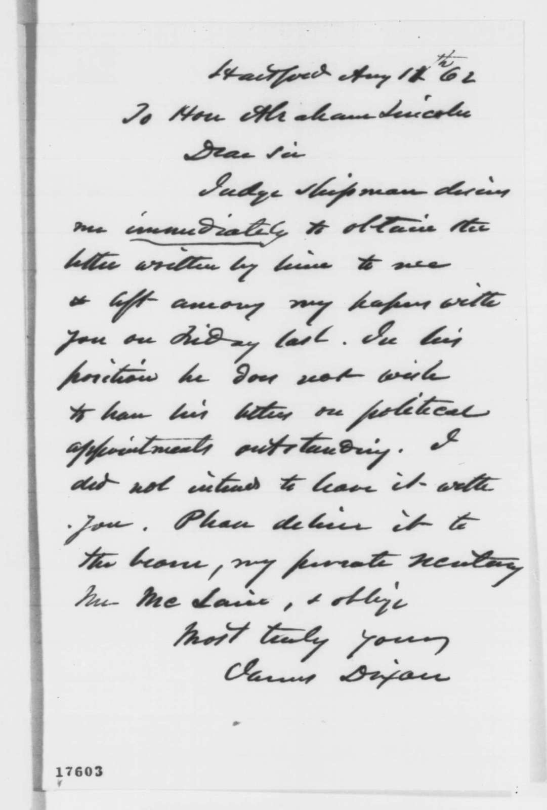 James Dixon to Abraham Lincoln, Tuesday, August 12, 1862  (Requests return of letter)