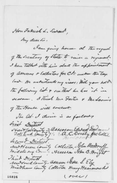 James Dixon to Frederick W. Seward, Saturday, July 05, 1862  (Patronage recommendations)