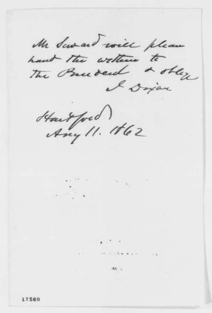 James Dixon to William H. Seward, Monday, August 11, 1862  (Cover letter)