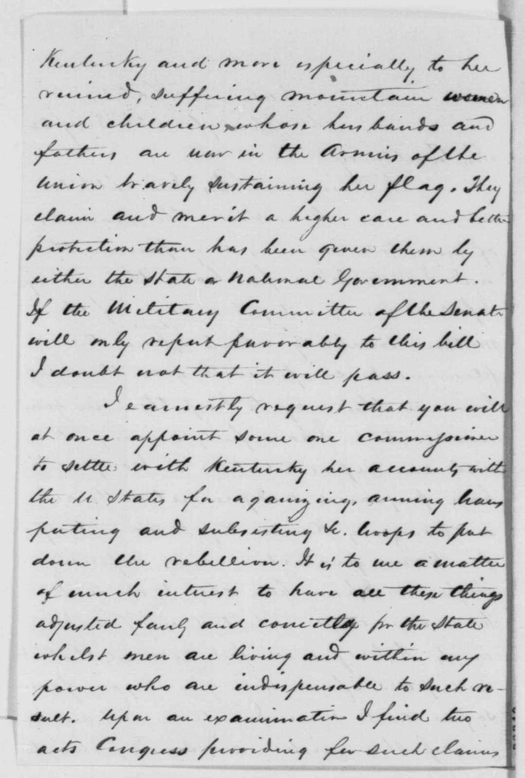 James F. Robinson to Abraham Lincoln, Sunday, December 21, 1862  (Affairs in Kentucky)