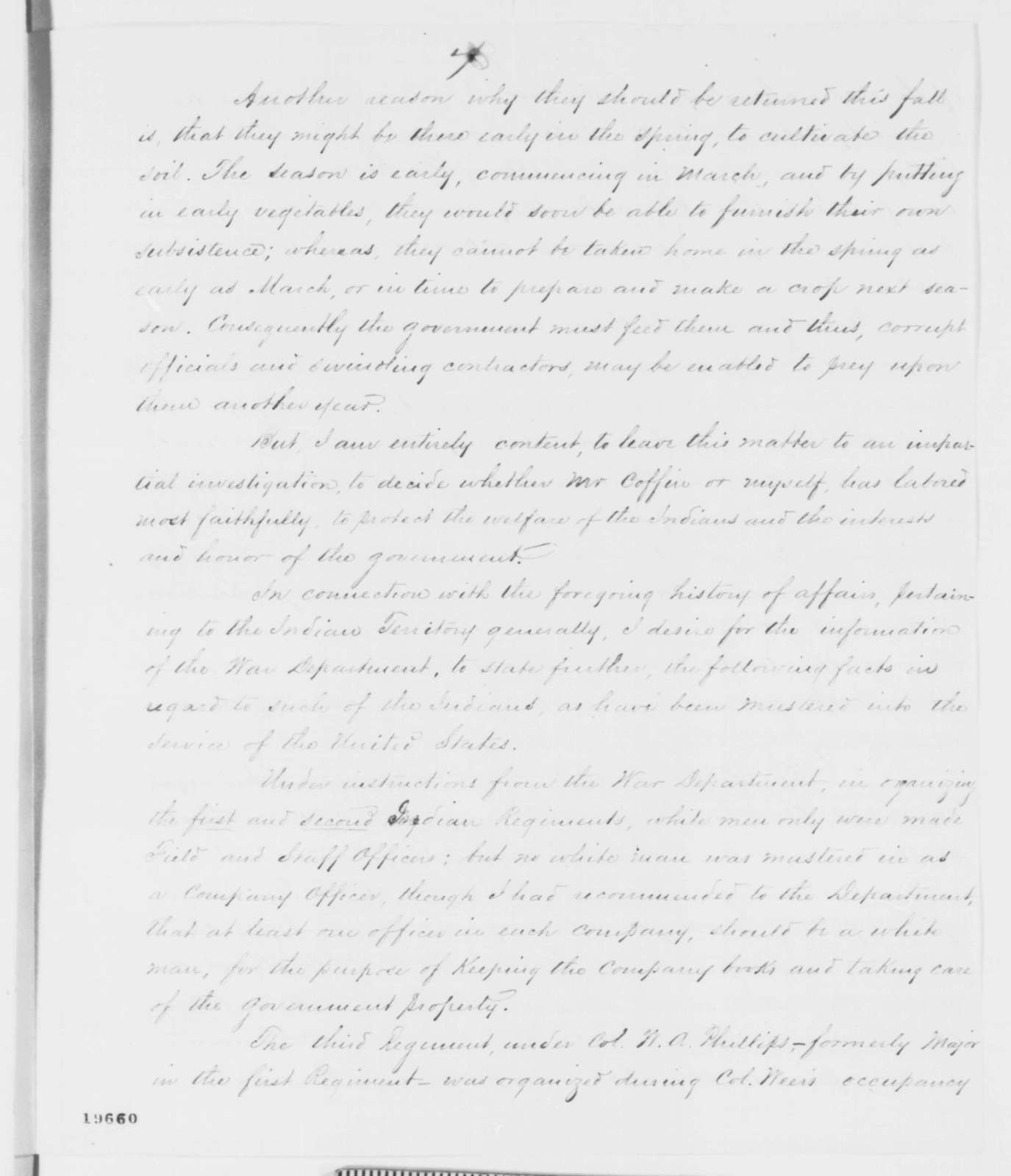 James G. Blunt to Caleb Smith, Friday, November 21, 1862  (Refugee Indians in Kansas)