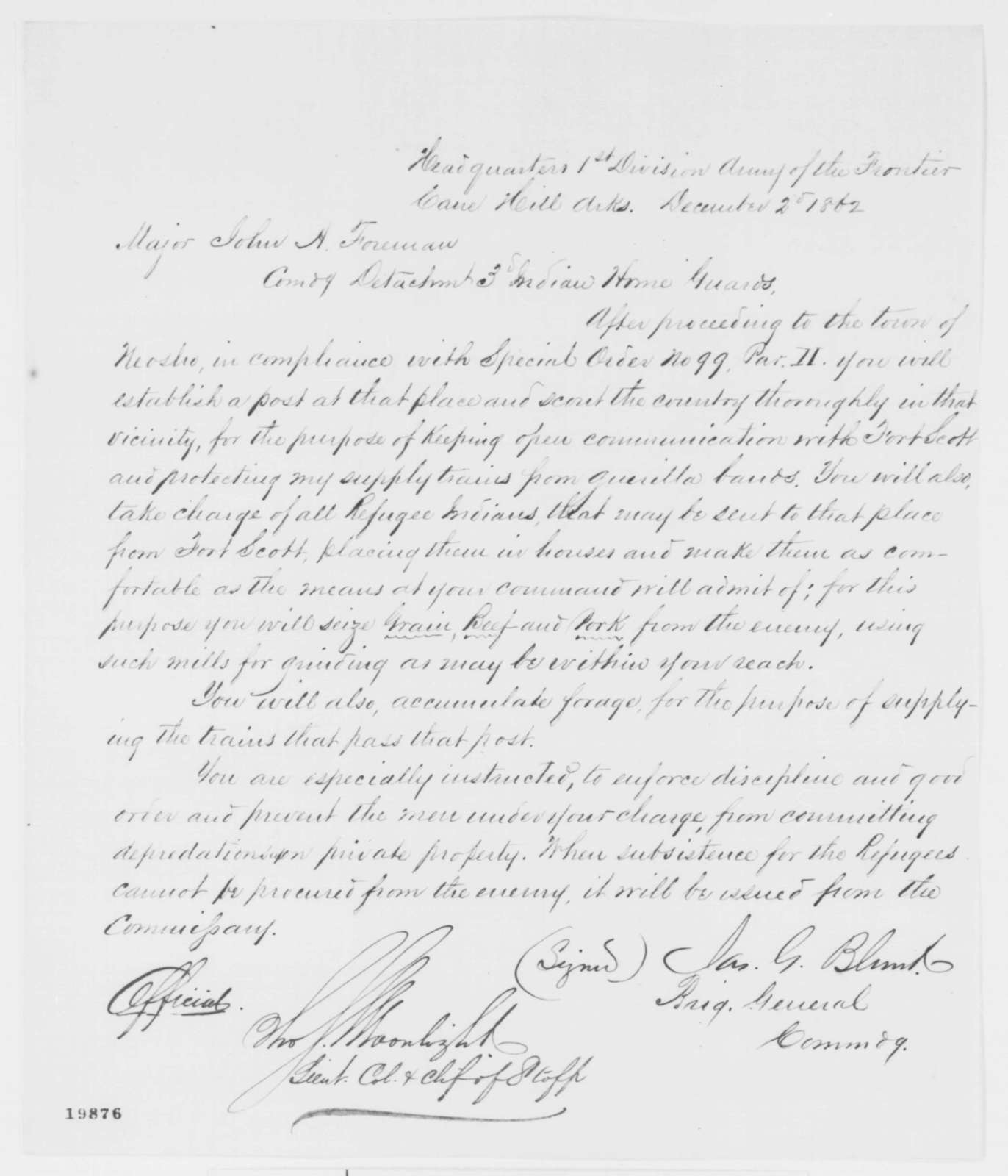 James G. Blunt to John A. Foreman, Tuesday, December 02, 1862  (Military orders)