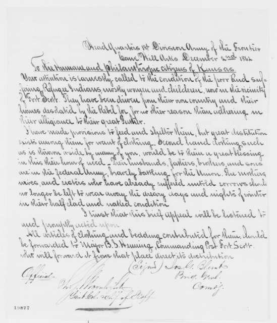 James G. Blunt to Kansas Citizens, Tuesday, December 02, 1862  (Refugee Indians)