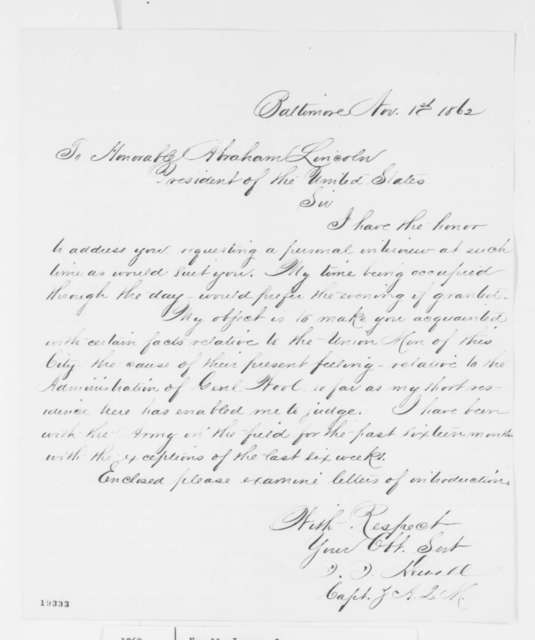 James J. Newell to Abraham Lincoln, Saturday, November 01, 1862  (Affairs in Baltimore)